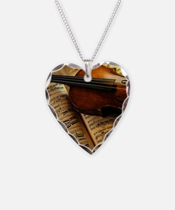 Violin On Music Sheet Necklace