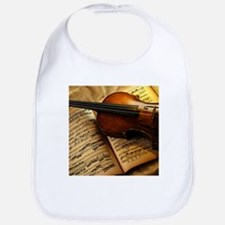 Violin On Music Sheet Bib