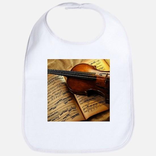 Violin On Music Sheet Bib