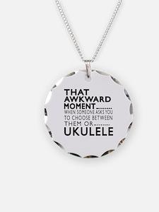 Ukulele Awkward Moment Desig Necklace Circle Charm