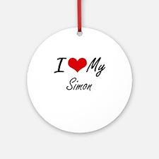 I Love My Simon Round Ornament
