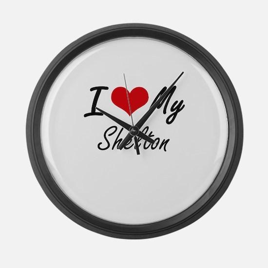 I Love My Shelton Large Wall Clock