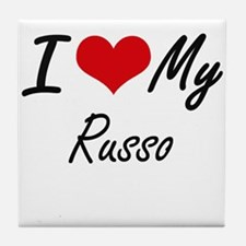 I Love My Russo Tile Coaster