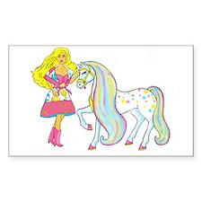 Girl&pony Rectangle Decal