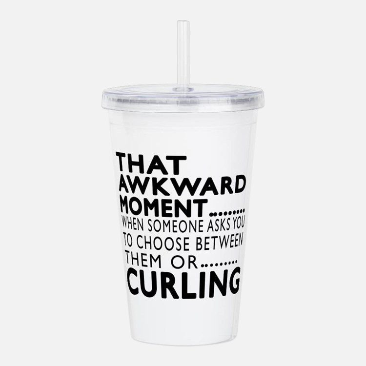 Curling Awkward Moment Acrylic Double-wall Tumbler