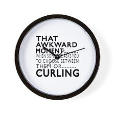 Curling Awkward Moment Designs Wall Clock