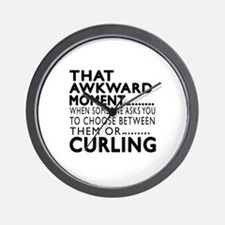 Curling Awkward Moment Designs Wall Clock