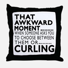 Curling Awkward Moment Designs Throw Pillow