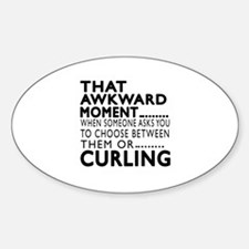 Curling Awkward Moment Designs Sticker (Oval)