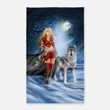 Warrior Woman and Wolf Area Rug