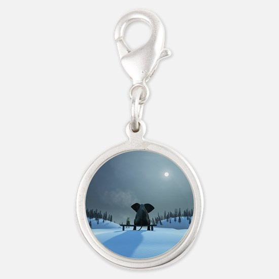 Dog and Elephant Friends Silver Round Charm