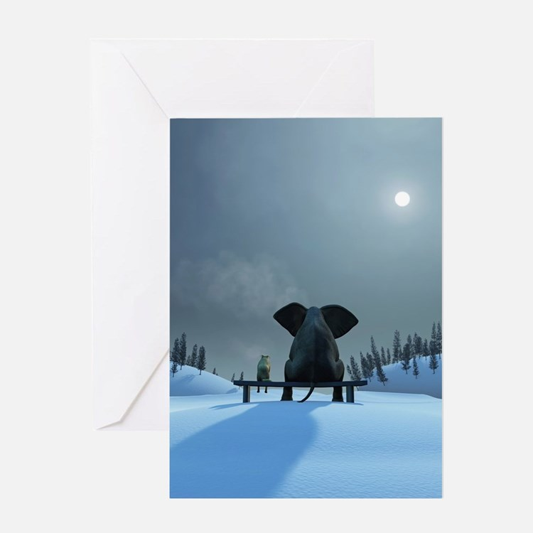 Dog and Elephant Friends Greeting Card