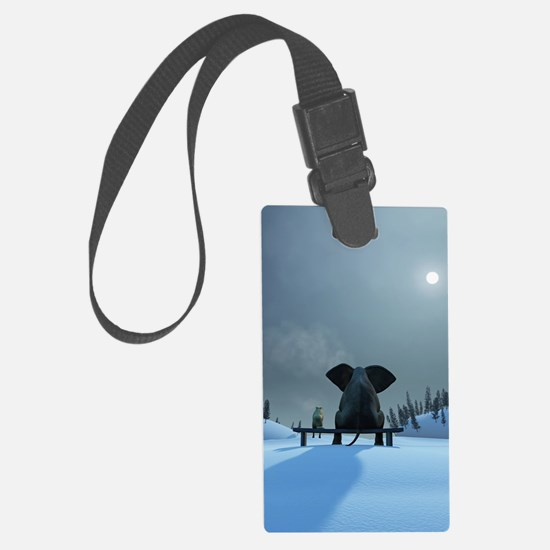Dog and Elephant Friends Large Luggage Tag