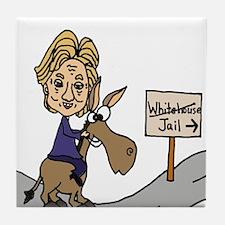 Hillary Clinton Riding Donkey Tile Coaster
