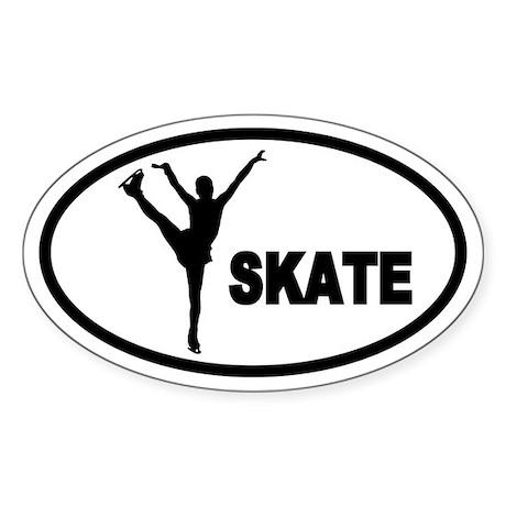 Figure Skater Oval Sticker