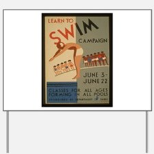 Vintage poster - Learn to swim Yard Sign