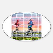 Cool Women running Sticker (Oval)