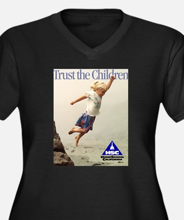 Trust the Children Women's Plus Size V-Neck Dark T