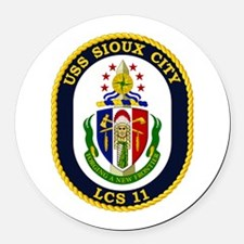 USS Sioux City Round Car Magnet