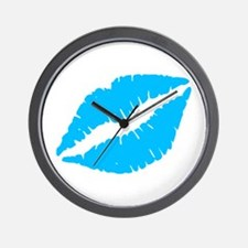Blue Kiss Lips Wall Clock