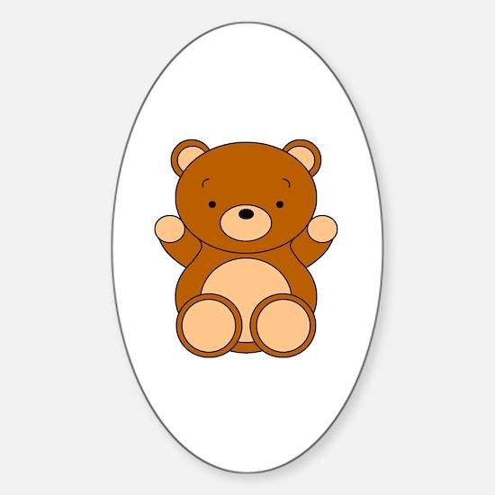 Cute Cartoon Bear Sticker (Oval)