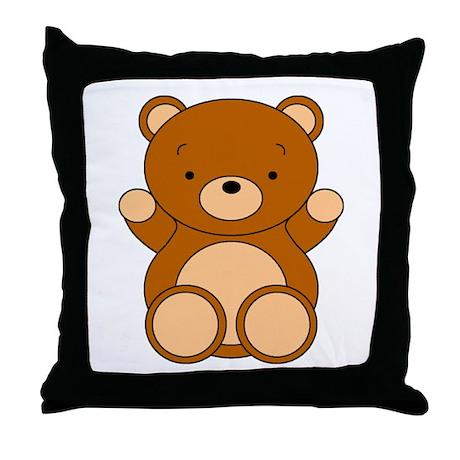 Cute Bear With Heart Pillow : Cute Cartoon Bear Throw Pillow by casperncaboodle