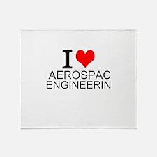 I Love Aerospace Engineering Throw Blanket