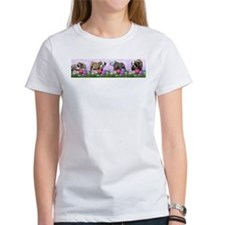 Bulldog Puppy Flower Row Tee