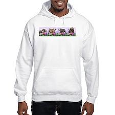 Bulldog Puppy Flower Row Hoodie