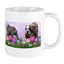 Bulldog Puppy Flower Row Mug