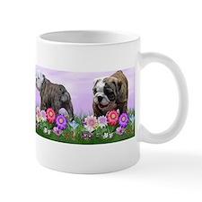 Bulldog Puppy Flower Row Small Mug