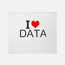 I Love Data Throw Blanket