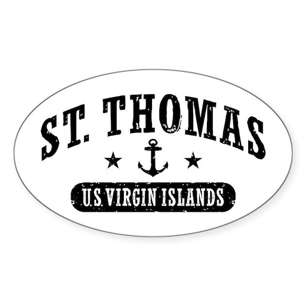 St Thomas Sticker Oval by HobnobberTees