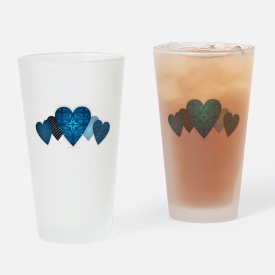 Blue Hearts Drinking Glass