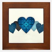 Blue Hearts Framed Tile