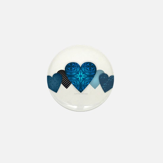 Blue Hearts Mini Button