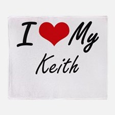 I Love My Keith Throw Blanket
