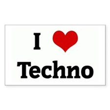I Love Techno Rectangle Decal
