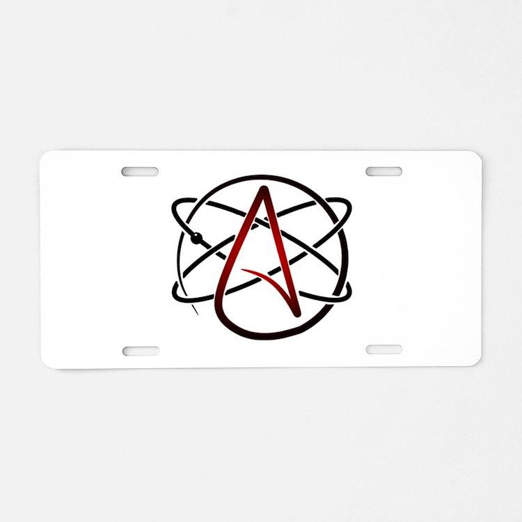 Modern Atheist Atomic Color Aluminum License Plate