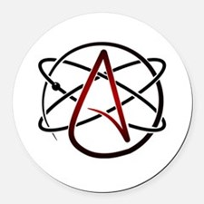 Modern Atheist Atomic Color Round Car Magnet