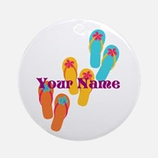 Personalized Flip Flops Round Ornament