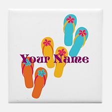 Personalized Flip Flops Tile Coaster