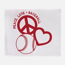 PEACE-LOVE-BASEBALL Throw Blanket