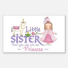 Unicorn Princess Little Sister Sticker (Rectangula