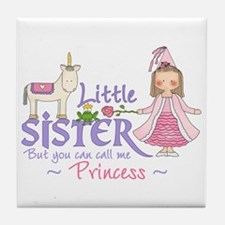 Unicorn Princess Little Sister Tile Coaster