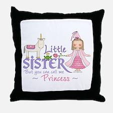 Unicorn Princess Little Sister Throw Pillow