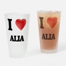 I Love Alia Drinking Glass