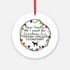 Dear Santa TW Coonhound Christmas Ornament