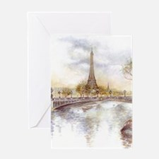 Eiffel Tower Painting Greeting Cards