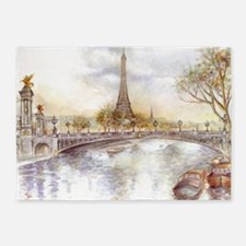 Eiffel Tower Painting 5'x7'Area Rug